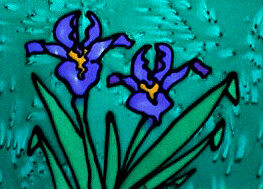 silk screen of iris by Helen Glidden